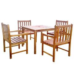 Ellister Portland FSC Acacia 4 Armchair 90cm Square Dining Set