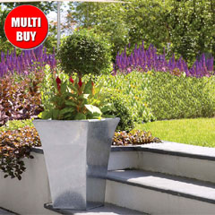 Apta Zinc Flared Square Planter 44cm x 2 Multi-Buy
