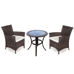 Greenfingers Moncafa Rattan 2 Armchair 60cm Round Table Set