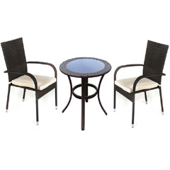 Greenfingers Jersey Rattan 2 Armchair 60cm Moncafa Round Table Set