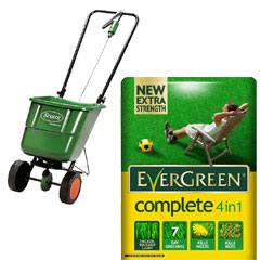 Scotts Easygreen Rotary Spreader with Evergreen Complete 4-in-1 Lawn Care 360sqm Kit
