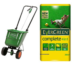 Scotts Easygreen Rotary Spreader with Evergreen Complete 4-in-1 Lawn Care 200sqm Kit