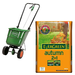 Scotts Easygreen Rotary Spreader with Evergreen Autumn 2 in 1 Lawn Food 12.6kg Kit