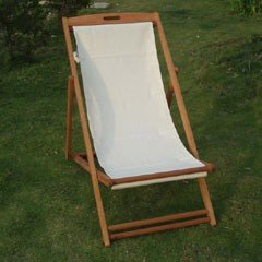 Greenfingers FSC Acacia Deck Chair - White