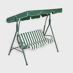 Greenfingers 3 Seater Padded Swing Seat - Green