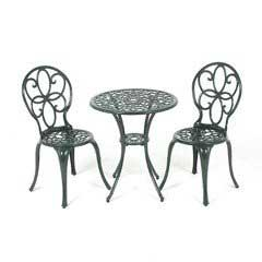 Ellister Stamford Aluminium 2 Chairs 60cm Circular Patio Set - Dark Green