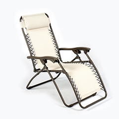 Ellister Royale Premier Sun Lounger - Natural with Silver Frame