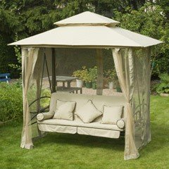 Greenfingers Regency Swing Bed Gazebo - Natural