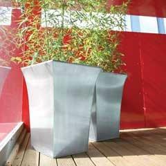 Apta Tall Zinc Flared Square Planter - 51cm