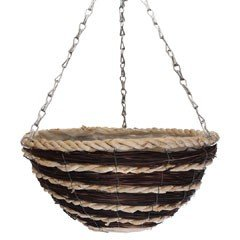 Natural Coffee and Cream Round Hanging Basket - 14in