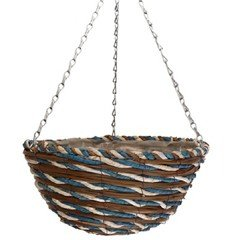 Himalaya Blue Twist Round Hanging Basket -12in
