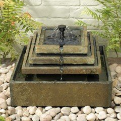 Smart Solar Natural Slate Tiered Fountain Solar Water Feature