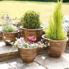 Antique Finish Planters - Set of 4