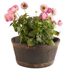 Oakwood Barrel Resin Planter 50cm