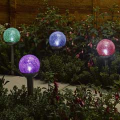 Smart Solar Rainbow Crackle Globe Solar Lights - Set of 4
