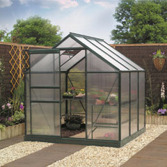 Gardman Green-Framed Aluminium Greenhouse 6' x 6'