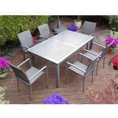 Rondeau Leisure Aranda Aluminium 6 Armchairs 180cm Rectangular Dining Set