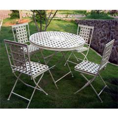 Rondeau Leisure Kingham Steel 4 Folding Chairs 90cm Circular Dining Set