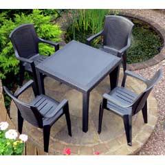 Rondeau Leisure Palmi Polypropylene 4 Armchairs 79cm Square Dining Set - Black