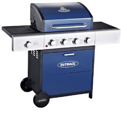Outback  Meteor Select 4 Burner Gas BBQ - Blue