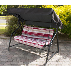 Greenfingers 3 Seater Padded Swing Seat Hammock - Red Stripe