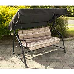 Greenfingers Padded 3 Seater Swing Seat - Cappuccino Stripe