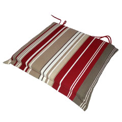 Ellister Square Carver Seat Cushion 2 Pack - Red Stripe 46 x 45cm