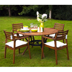 Greenfingers Acacia 4 Armchair 120cm Round Outdoor Set