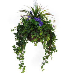 TreeLocate Artificial Hanging Basket with Purple & White Pansies