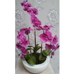 Artificial Contemporary Purple Orchid Plant in White Planter