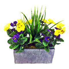 Artificial Purple & Yellow Potted Pansy in Slate Trough