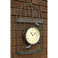Verdigris Bird Cage Design Garden Clock Black - 35cm high