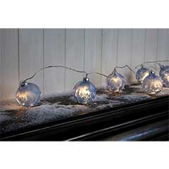 Christmas Blue Frosted Glass Bauble String Lights 10 - Warm White / Clear Cable