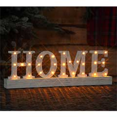 Christmas Distressed Wooden HOME Sign with Lights - 40cm