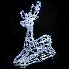 Christmas Outdoor Acrylic Sitting Reindeer - 55cm