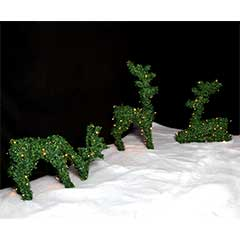 Christmas Outdoor Topiary Grazing Deer with Timer - 42cm