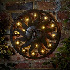 Celestial Sun Wall Art with 12 LED Lights - 40cm