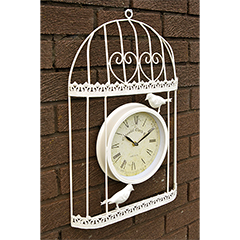 Verdigris Bird Cage Design Garden Clock Cream - 35cm high