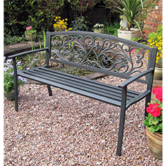 Rondeau Leisure Caen Steel Bench - W127cm