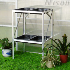Nison Two Tier Aluminium Shelving With 4 Seed Trays - Silver