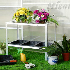 Nison Two Tier Aluminium Shelving With 3 Seed Trays - Silver