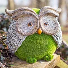 La Hacienda Flocked Effect Owl - 25.5cm Width