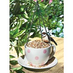 White Ceramic Teacup Birdfeeder - 18 x 10cm