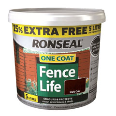 Ronseal One Coat Fence Life 4L Plus 25% Free