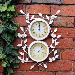 Kingfisher Vintage Floral Clock and Thermometer - 12cm