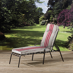 Pagoda Naples Cushioned Steel Sun Lounger - Red Stripes