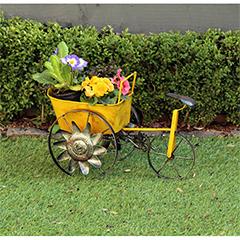 Yellow Metal Wagon Planter - 31cm Width