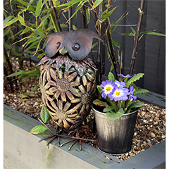 Owl with Flower Pot - 32.5cm Height