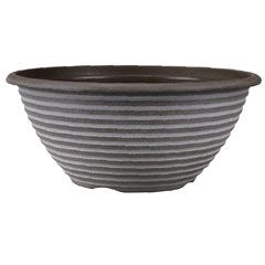 Striation Chocolate and White Bowl Planter - 12In