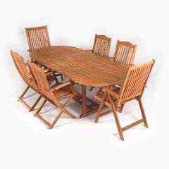 Cadiz FSC Acacia 6 Seater Oval Folding Reclining Set - 2.3m